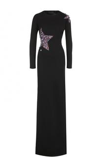 Платье-макси с высоким разрезом и отделкой в виде звезд Philipp Plein