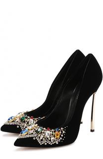 Бархатные туфли с кристаллами на шпильке Blade Casadei