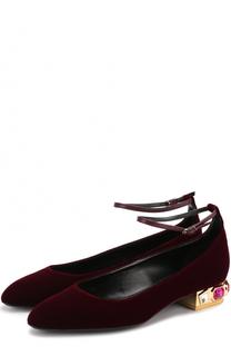 Текстильные балетки на декорированном каблуке Casadei