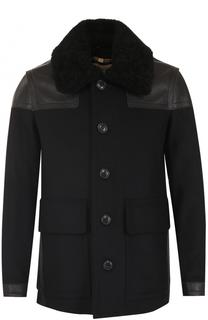 Укороченное пальто из смеси шерсти и кашемира с меховой отделкой воротника Burberry