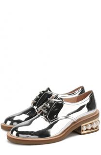 Ботинки из металлизированной эко-кожи на каблуке с декором Nicholas Kirkwood