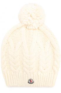 Шапка фактурной вязки с помпоном и логотипом бренда Moncler