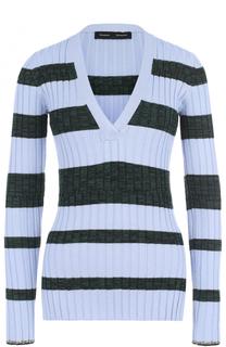 Пуловер в полоску с V-образным вырезом Proenza Schouler
