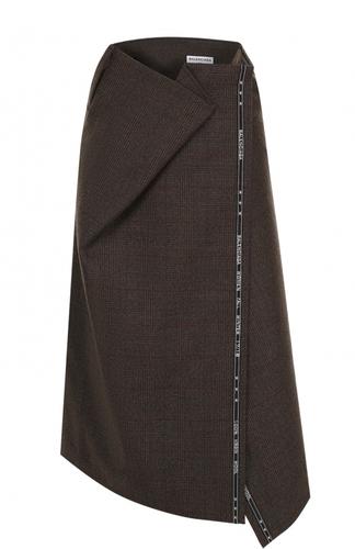 Шерстяная юбка-миди асимметричного кроя Balenciaga