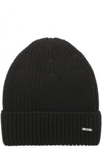 Шерстяная шапка фактурной вязки BOSS