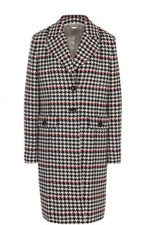Однобортное шерстяное пальто с принтом гусиная лапка BOSS