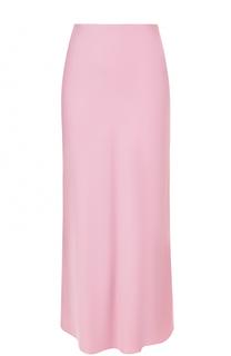 Однотонная шелковая юбка-миди BOSS