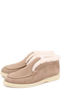 Замшевые ботинки с внутренней отделкой из нутрии Loro Piana
