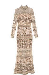 Приталенное платье-макси с вышивкой Elie Saab