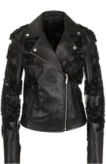 Кожаная куртка с косой молнией и декоративной отделкой Elie Saab