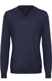 Шерстяной пуловер тонкой вязки с шалевым воротником BOSS