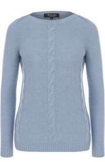 Кашемировый пуловер с вырезом-лодочка и фактурной отделкой Loro Piana