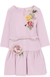 Трикотажное мини-платье с аппликациями Monnalisa