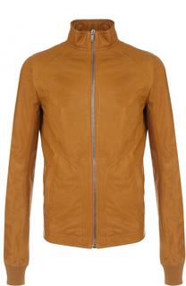 Кожаная куртка на молнии с воротником-стойкой Rick Owens