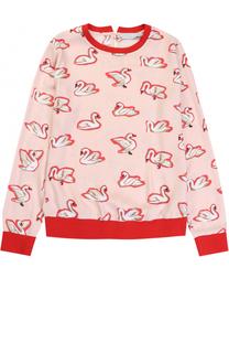 Блуза из вискозы с контрастной отделкой и принтом Stella McCartney