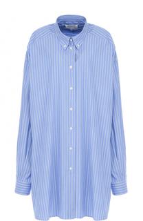 Удлиненная хлопковая блуза в полоску Maison Margiela
