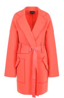 Шерстяное пальто со спущенным рукавом и поясом Giorgio Armani