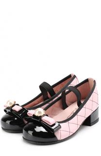 Кожаные туфли с лаковым мысом и декоративным бантом Pretty Ballerinas