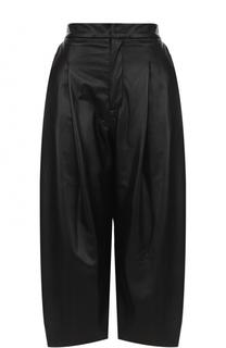 Кожаные укороченные брюки с защипами Natasha Zinko