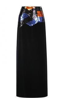 Бархатная юбка-макси с пайетками Dries Van Noten