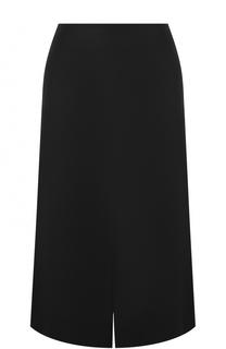Шерстяная юбка-миди с разрезом Lanvin