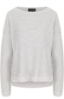 Кашемировый пуловер с круглым вырезом и пайетками St. John