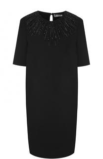 Мини-платье прямого кроя с вышивкой Lanvin