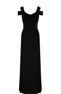 Бархатное платье-макси с V-образным вырезом St. John