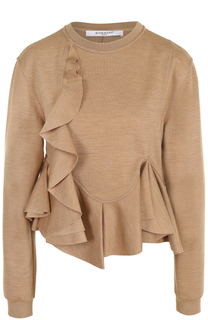 Шерстяной пуловер с оборками Givenchy