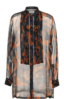 Шелковая полупрозрачная блуза с принтом Dries Van Noten