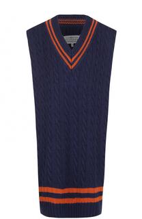 Удлиненный пуловер фактурной вязки без рукавов Maison Margiela
