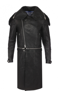 Кожаное пальто на молнии с меховой отделкой воротника Givenchy
