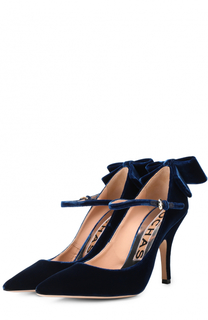 Бархатные туфли с бантом Rochas