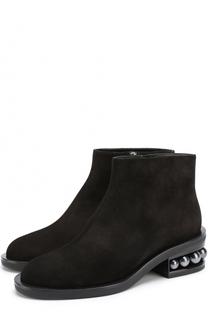 Замшевые ботинки на декорированном каблуке Nicholas Kirkwood