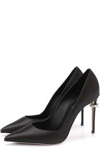 Атласные туфли на декорированном каблуке Le Silla