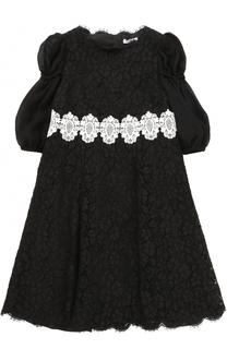 Кружевное платье А-силуэта с контрастной отделкой Dolce & Gabbana