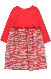 Мини-платье джерси с завышенной талией и декором на юбке I Pinco Pallino