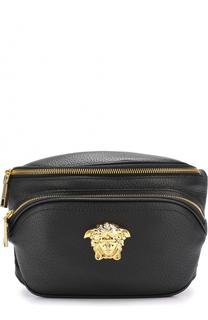 Кожаная поясная сумка с логотипом бренда Versace
