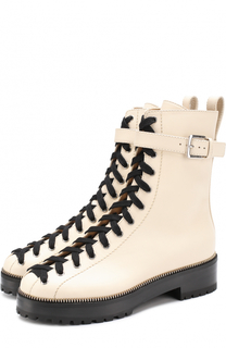 Кожаные ботинки на шнуровке Sergio Rossi