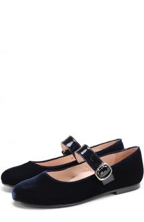 Бархатные туфли с кожаным ремешком Beberlis