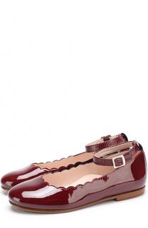 Лаковые туфли с фигурной отделкой и глиттером на ремешке Beberlis