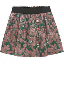 Мини-юбка с металлизированным принтом и декоративными пуговицами Dolce & Gabbana