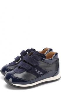 Кожаные кроссовки с замшевой отделкой и застежками велькро Tod's Tods