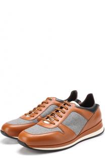 Кожаные кроссовки на шнуровке с текстильными вставками Ermenegildo Zegna