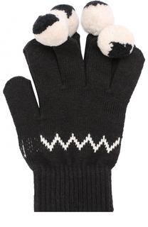 Перчатки из хлопка и шерсти с помпонами Stella McCartney
