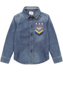 Рубашка из денима с вышивкой Armani Junior