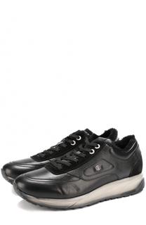 Кожаные кроссовки на шнуровке с внутренней меховой отделкой Bogner