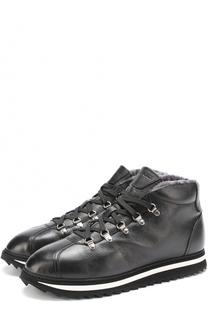 Высокие кожаные ботинки на шнуровке с внутренней меховой отделкой Doucals