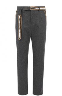 Шерстяные брюки свободного кроя с контрастной отделкой Sacai