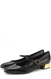 Кожаные туфли на низком каблуке Casadei